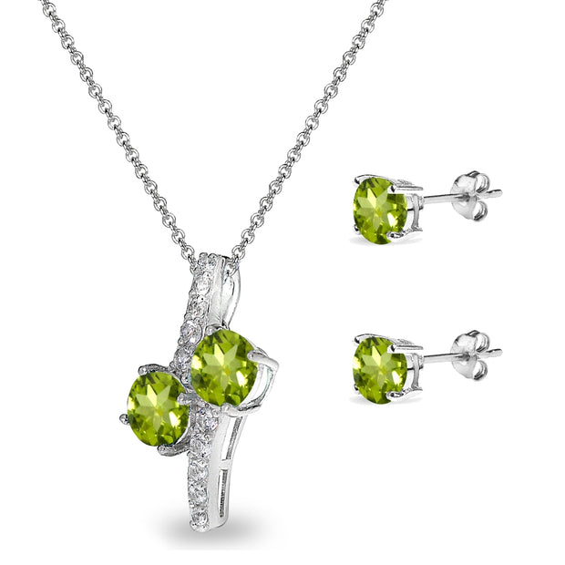 Sterling Silver Peridot Round Stud Earrings & Friendhip Necklace Set