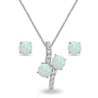 Sterling Silver Simulated White Opal Round Stud Earrings & Friendship Necklace Set