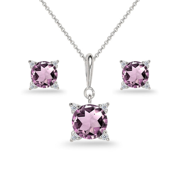 Sterling Silver Created Alexandrite Studded Solitaire Necklace & Stud Earrings Set