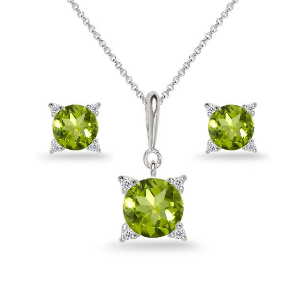 Sterling Silver Peridot Studded Solitaire Necklace & Stud Earrings Set