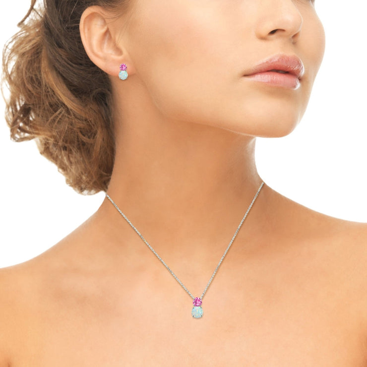 Sterling Silver Created Pink Sapphire & Created Opal Double Round Stud Earrings & Necklace Set