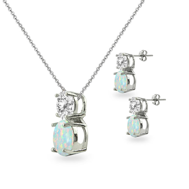 Sterling Silver White Topaz & Simulated Opal Double Round Stud Earrings & Necklace Set