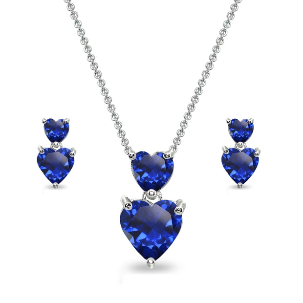 Sterling Silver Created Blue Sapphire Double Heart Friendship Necklace & Stud Earrings Set
