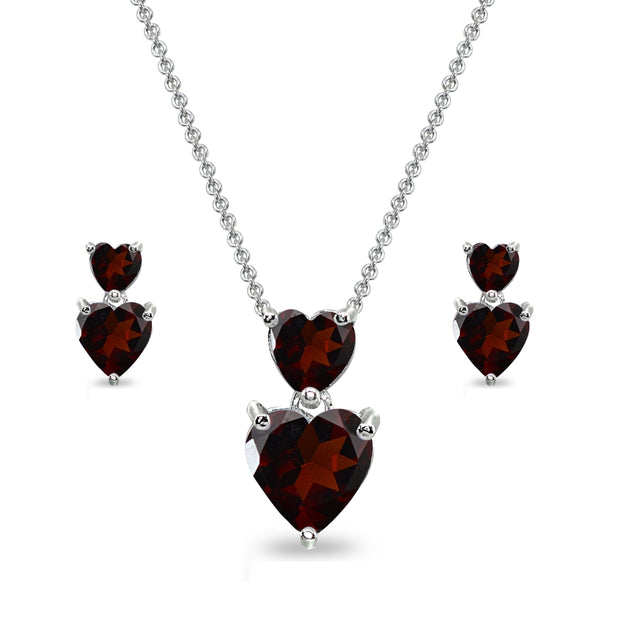 Sterling Silver Garnet Double Heart Friendship Necklace & Stud Earrings Set