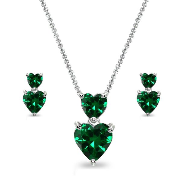 Sterling Silver Simulated Emerald Double Heart Friendship Necklace & Stud Earrings Set