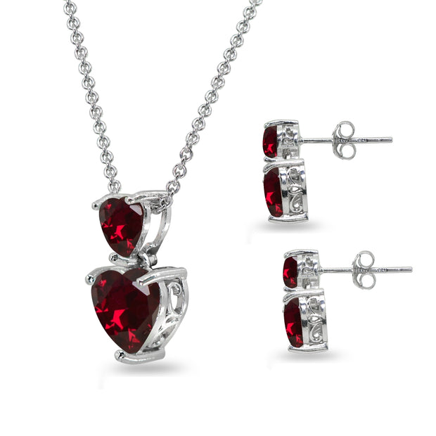 Sterling Silver Created Ruby Double Heart Friendship Necklace & Stud Earrings Set