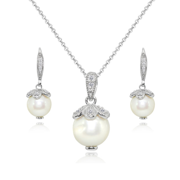 Sterling Silver Created White Pearl Leverback Earrings & Necklace Set with White Topaz Accents