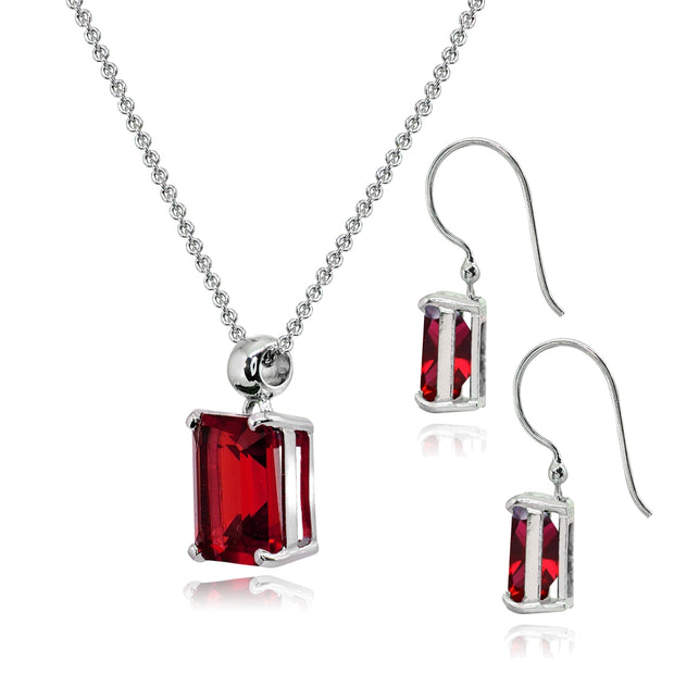 Sterling Silver Created Ruby Octagon-Cut Solitaire Drop Dangle Earrings & Necklace Set