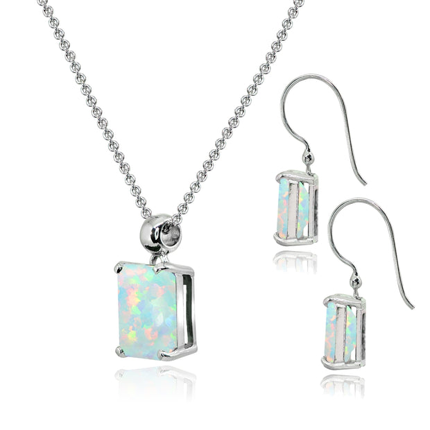 Sterling Silver Created White Opal Octagon-Cut Solitaire Drop Dangle Earrings & Necklace Set