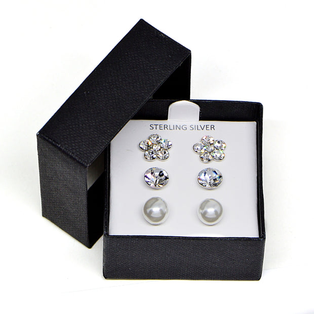 Sterling Silver Solitaire Round, Flower and Created Pearl 3 Pair Stud Earrings Box Set
