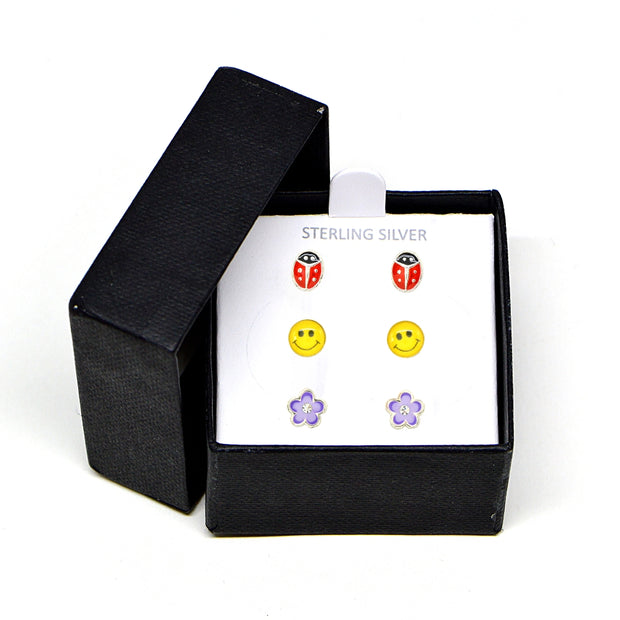 Sterling Silver Enamel Red Beetle Lady Bug, Yellow Smiley Face and Purple Flower 3 Pair Stud Earrings Box Set