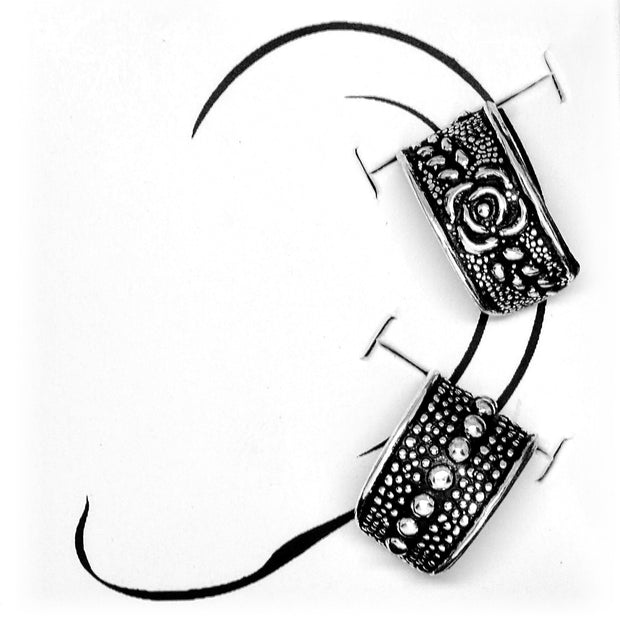 Sterling Silver Oxidized Rose Flower Tail Non-Piercing Helix Cartilage Two Earring Cuffs Set