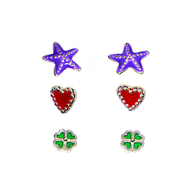 Sterling Silver Enamel Purple Starfish, Red Heart and Green Four Leaf Clover 3 Pair Stud Earrings Box Set