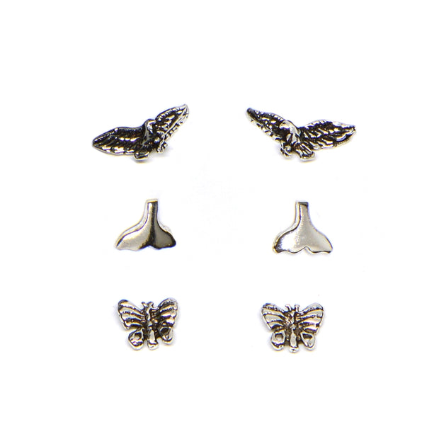 Sterling Silver Polished Eagle Bird Whale Tail Butterfly 3 Pair Stud Earrings Box Set