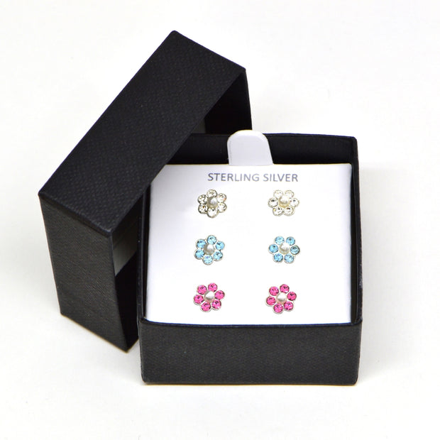 Sterling Silver Pink, Blue and Clear Flower 3 Pair Stud Earrings Box Set