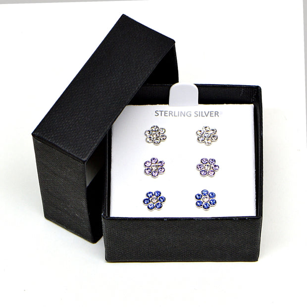 Sterling Silver Polished Flower Clear, Purple & Blue 3 Pair Stud Earrings Box Set