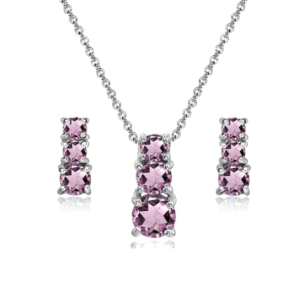Sterling Silver Simulated Alexandrite Round Graduating Three Stone Stud Earrings & Necklace Set