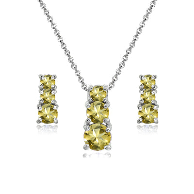 Sterling Silver Citrine Round Graduating Three Stone Stud Earrings & Necklace Set