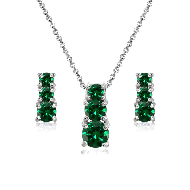 Sterling Silver Simulated Emerald Round Graduating Three Stone Stud Earrings & Necklace Set