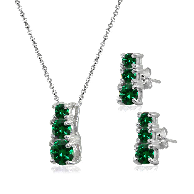 Sterling Silver Created Emerald Round Graduating Three Stone Stud Earrings & Necklace Set