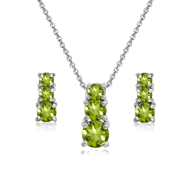 Sterling Silver Peridot Round Graduating Three Stone Stud Earrings & Necklace Set