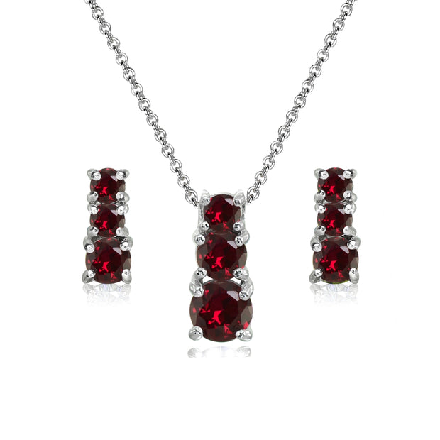 Sterling Silver Created Ruby Round Graduating Three Stone Stud Earrings & Necklace Set