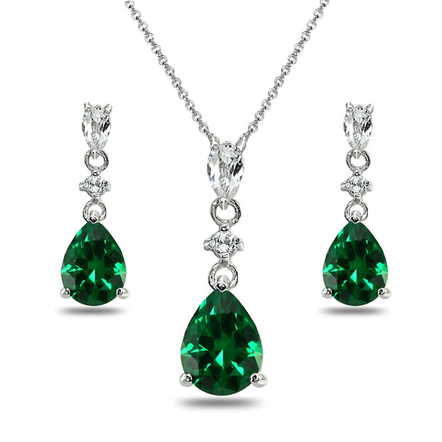 Sterling Silver Simulated Emerald & White Topaz Pear-Cut Teardrop Dangling Stud Earrings & Necklace Set