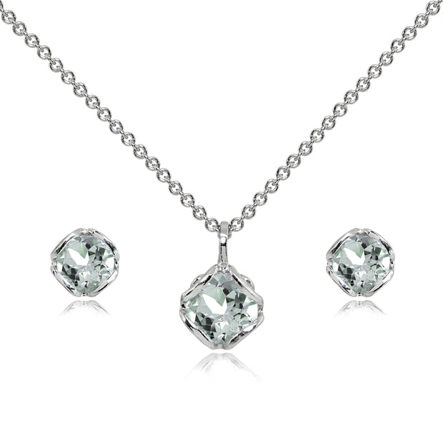 Sterling Silver Light Aquamarine 6mm Round Solitaire Stud Earrings & Pendant Necklace Set