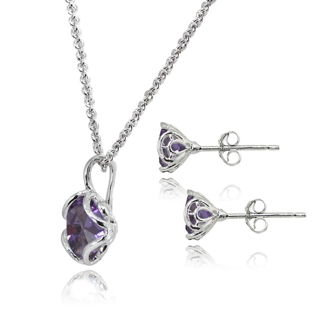 Sterling Silver Created Alexandrite 6mm Round Solitaire Stud Earrings & Pendant Necklace Set