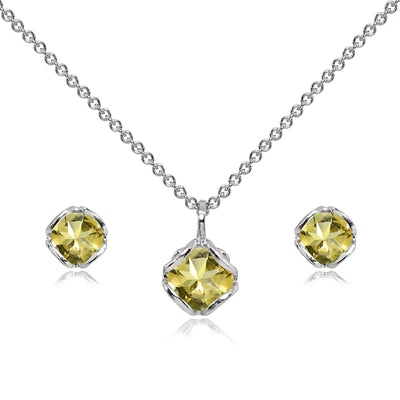 Sterling Silver Citrine 6mm Round Solitaire Stud Earrings & Pendant Necklace Set