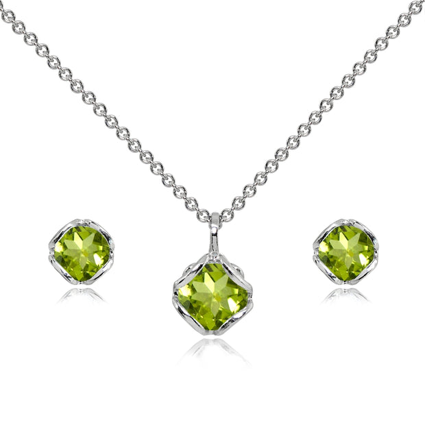 Sterling Silver Peridot 6mm Round Solitaire Stud Earrings & Pendant Necklace Set
