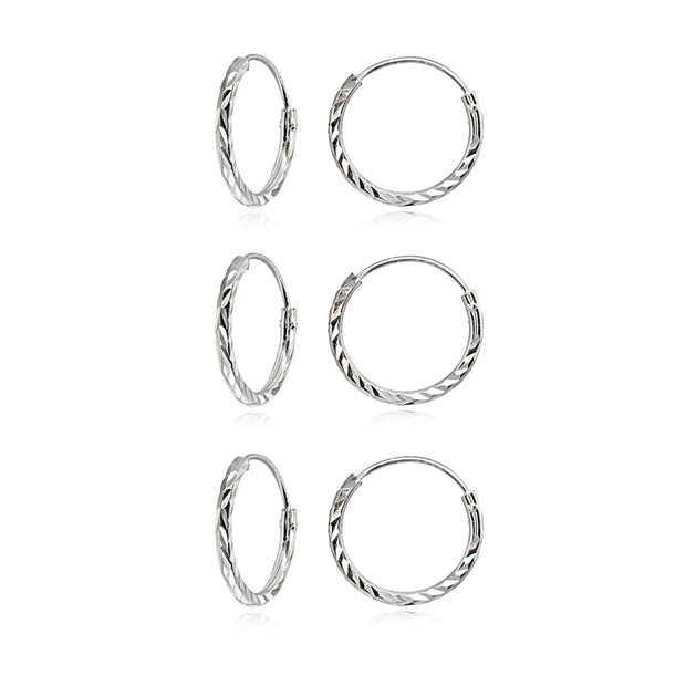 3 Pair Set Sterling Silver Diamond-Cut Tiny Small Endless 12mm Thin Round Unisex Hoop Earrings