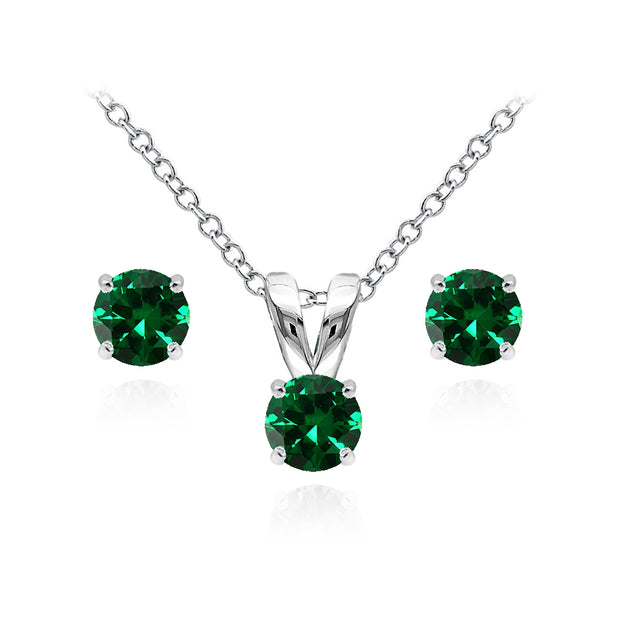 Sterling Silver Simulated Emerald 5mm Round Solitaire Pendant Necklace and Stud Earrings Set