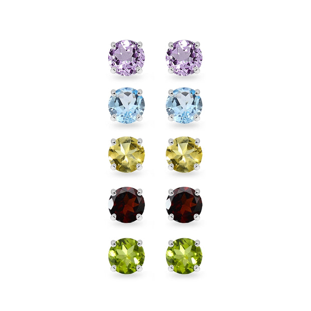 5-Pair Set Sterling Silver Amethyst, Blue Topaz, Citrine, Garnet and Peridot 4mm Round Stud Earrings