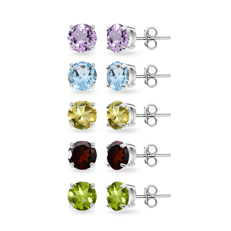 5-Pair Set Sterling Silver Amethyst, Blue Topaz, Citrine, Garnet and Peridot 6mm Round Stud Earrings
