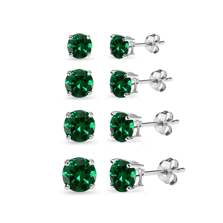 4 Pair Set Sterling Silver Simulated Emerald Round Stud Earrings, 3mm 4mm 5mm 6mm
