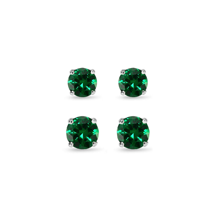 2 Pair Set Sterling Silver Simulated Emerald Round Stud Earrings, 4mm 6mm