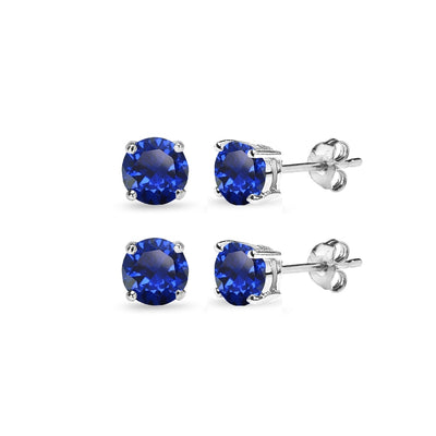 2 Pair Set Sterling Silver 6mm Created Blue Sapphire Round Stud Earrings