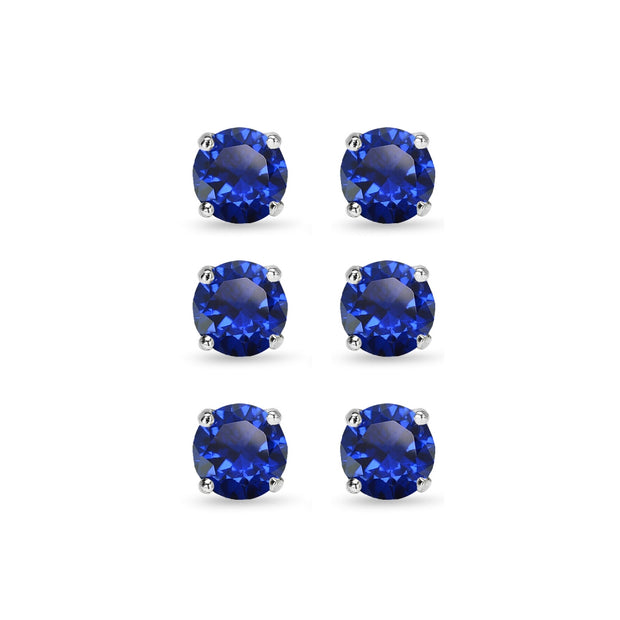 3 Pair Set Sterling Silver 6mm Created Blue Sapphire Round Stud Earrings