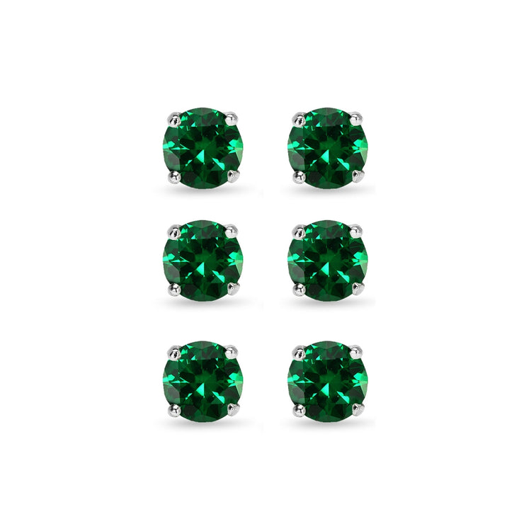 3 Pair Set Sterling Silver 6mm Simulated Emerald Round Stud Earrings