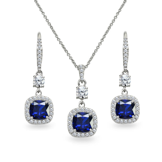 Sterling Silver Created Blue Sapphire Cushion-Cut Halo Dangle Leverback Earrings & Pendant Necklace Set