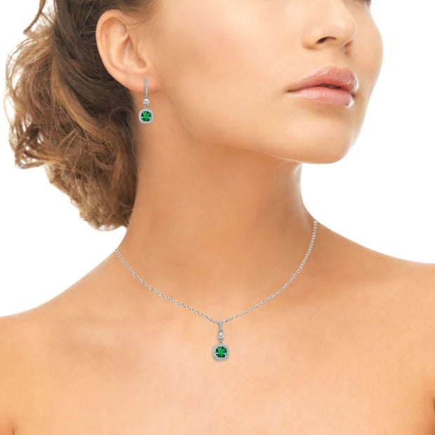 Sterling Silver Simulated Emerald Cushion-Cut Halo Dangle Leverback Earrings & Pendant Necklace Set