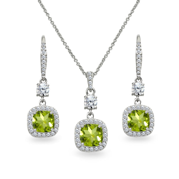 Sterling Silver Peridot Cushion-Cut Halo Dangle Leverback Earrings & Pendant Necklace Set