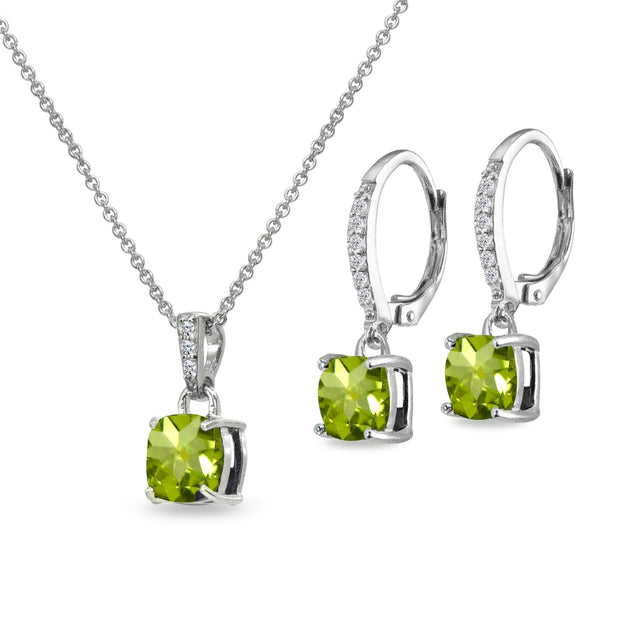 Sterling Silver Peridot Cushion-Cut Solitaire Dangle Leverback Earrings & Pendant Necklace Set
