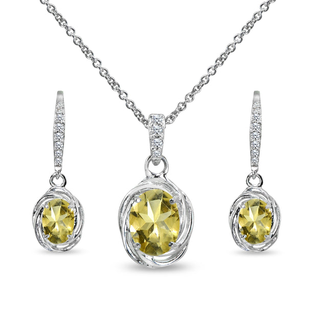 Sterling Silver Citrine & Cubic Zirconia Oval Love Knot Leverback Earrings & Pendant Necklace Set