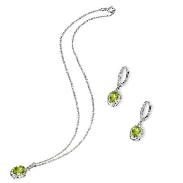 Sterling Silver Peridot & Cubic Zirconia Oval Love Knot Leverback Earrings & Pendant Necklace Set