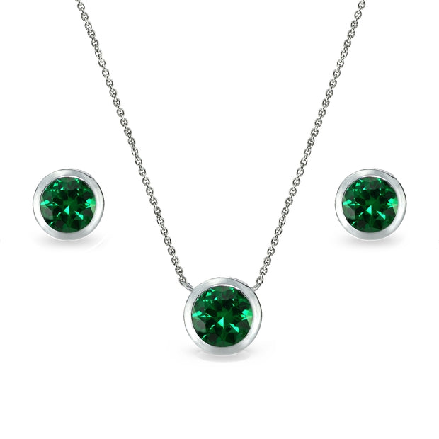 Sterling Silver Simulated Emerald 7mm Round Bezel-Set Solitaire Dainty Necklace and Stud Earrings Set