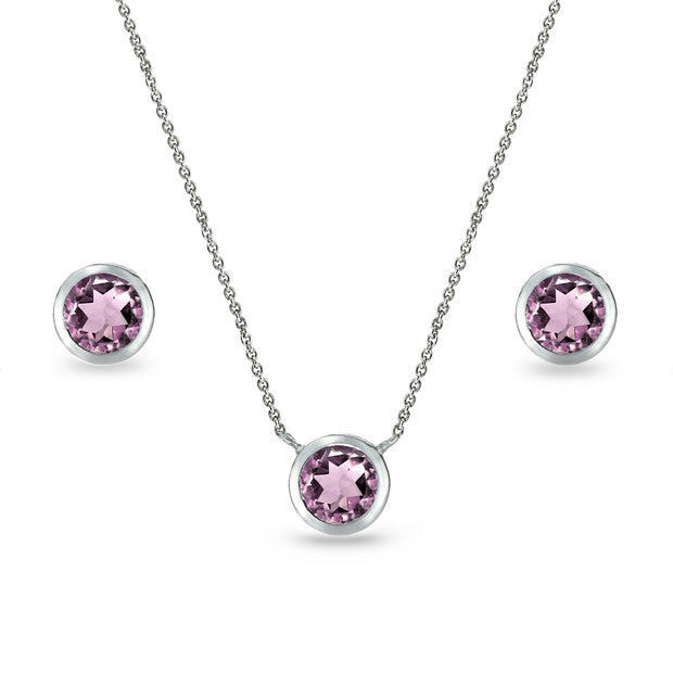Sterling Silver Simulated Alexandrite 5mm Round Bezel-Set Solitaire Small Dainty Choker Necklace and Stud Earrings Set