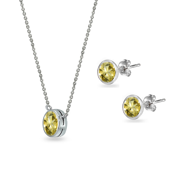Sterling Silver Citrine 5mm Round Bezel-Set Solitaire Small Dainty Choker Necklace and Stud Earrings Set