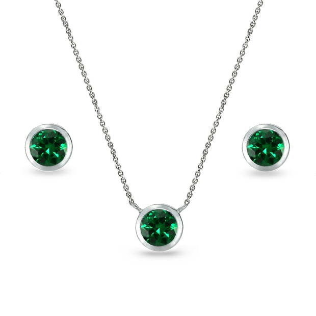 Sterling Silver Simulated Emerald 5mm Round Bezel-Set Solitaire Small Dainty Choker Necklace and Stud Earrings Set